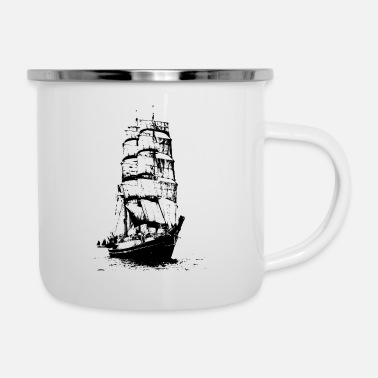 Wind Segelboot im Wind - Emaille-Tasse