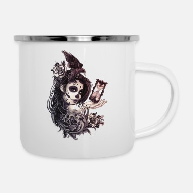 Filigree Tattoo Style Sugar Skull Girl with Bird - Enamel Mug