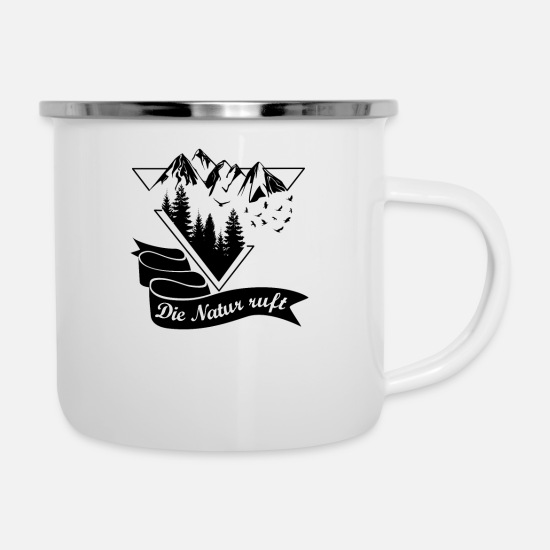Wandern Tassen & Becher - Nature Mountain Forest Triangle v4 - Emaille-Tasse Weiß