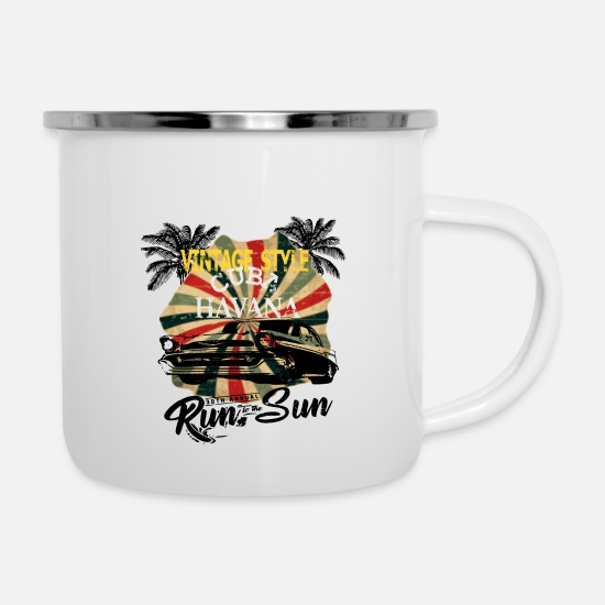 V8 Mugs & Drinkware - Old School Muscle Car in Cuba - Enamel Mug white