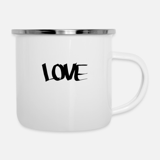 Love Mugs & Drinkware - love love black lettering LOVE font timeless - Enamel Mug white