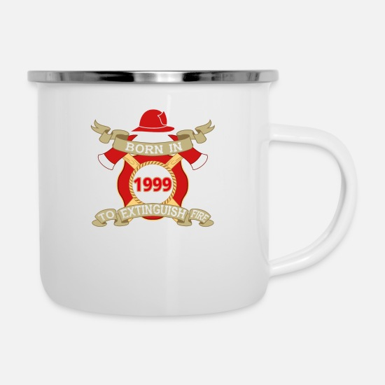 Birthday Mugs & Drinkware - Born 1999 Fire Fire Department - Enamel Mug white