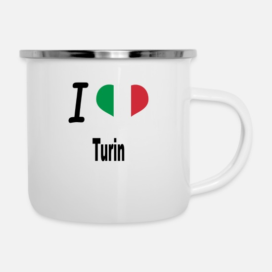 Love Mugs & Drinkware - I Love Italy Home Turin - Enamel Mug white