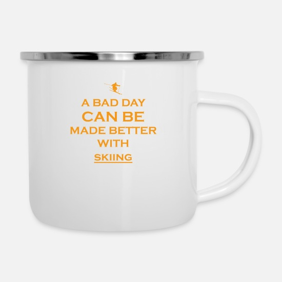 Birthday Mugs & Drinkware - gift bad day better skiing - Enamel Mug white