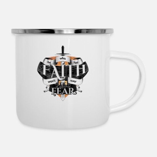 Shield Mugs & Drinkware - Faith - Enamel Mug white