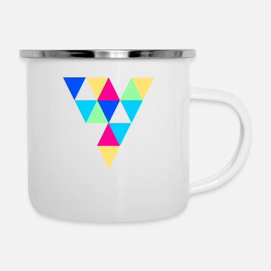 Hipster Mugs & Drinkware - triangles - Enamel Mug white