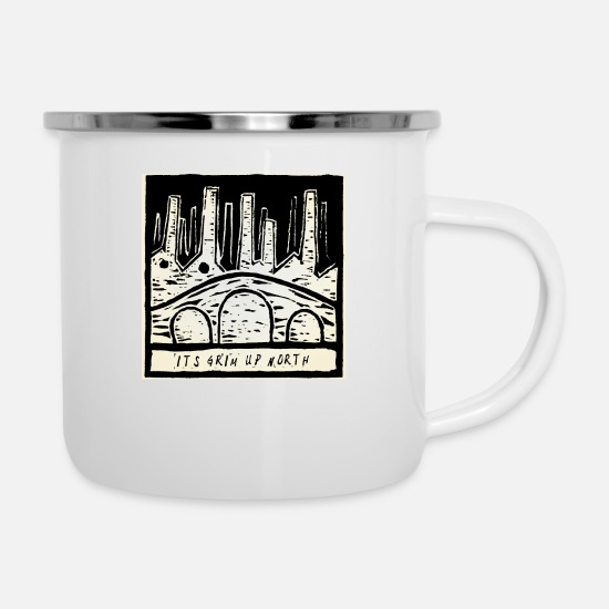 Up Mugs & Drinkware - It's Grim Up North - Enamel Mug white