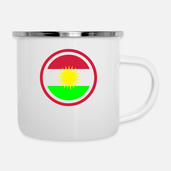 Country Mugs & Drinkware - Kurdistan Emblem - Enamel Mug white