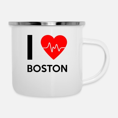 Boston J'aime Boston - J'adore Boston - Mug émaillé