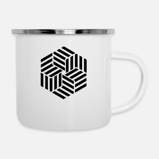 Geometric Mugs & Drinkware - Crossing - Enamel Mug white