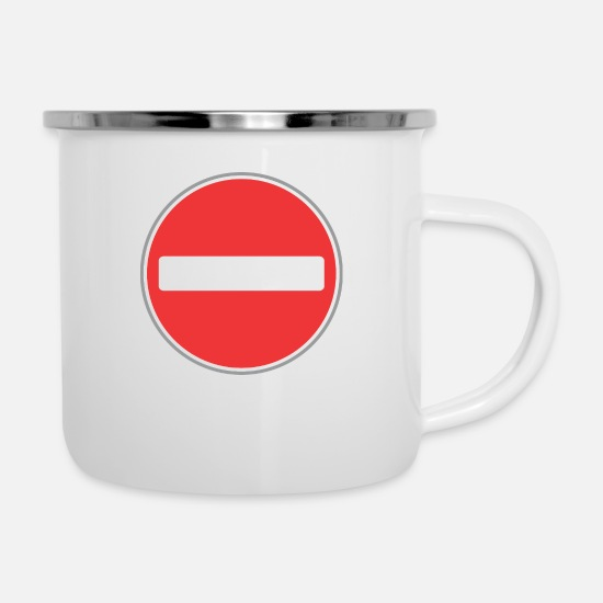 Red Wine Mugs & Drinkware - Road sign red sign - Enamel Mug white