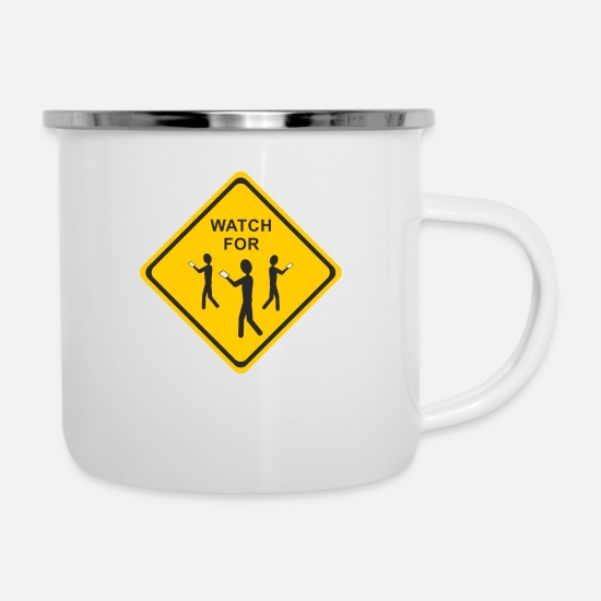Shield Mugs & Drinkware - Note - Smartphone User 2 - Enamel Mug white