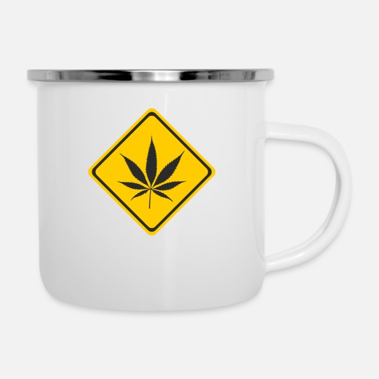 Cannabisblad Mokken & toebehoor - Shield - Cannabis - Emaille mok wit