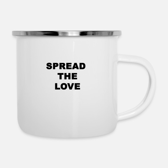 Love Tassen & Becher - SPREAD THE LOVE - Emaille-Tasse Weiß