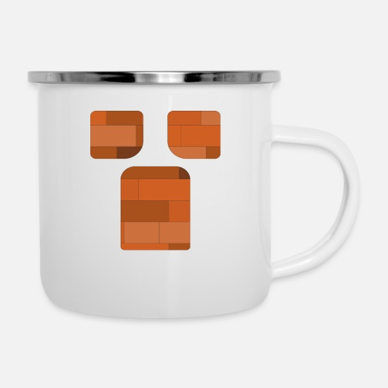Body Builder Mugs & Drinkware - brick body builder - Enamel Mug white