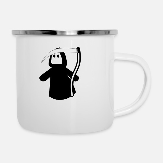 Stylish Mugs & Drinkware - The sweet Grim Reaper comes, all under cover - Enamel Mug white