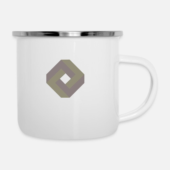 Square Mugs & Drinkware - Paradox design - Enamel Mug white