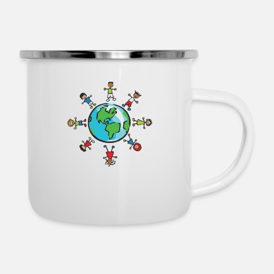 Gift Idea Mugs & Drinkware - World Population Day 2018 Earth Population Globe - Enamel Mug white