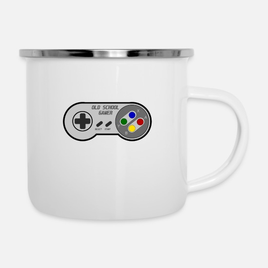 Gift Idea Mugs & Drinkware - OLD SCHOOL GAMER - Motif - Enamel Mug white