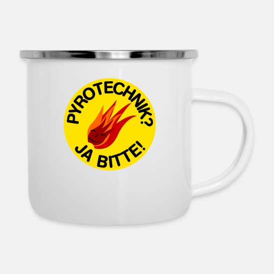 Pyro Mugs & Drinkware - Pyrotechnics? Yes Please! - Enamel Mug white