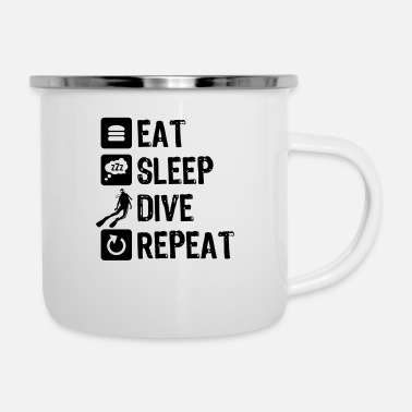 Tauchen eat sleep dive repeat - Emaille-Tasse