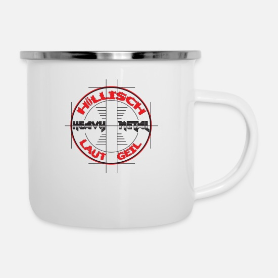 Loud Mugs & Drinkware - HEAVY METAL - HÖLLISCH LOUD GEIL - Enamel Mug white