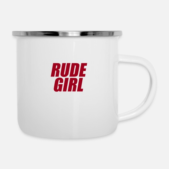 Typography Mugs & Drinkware - Rude girl red white - Enamel Mug white