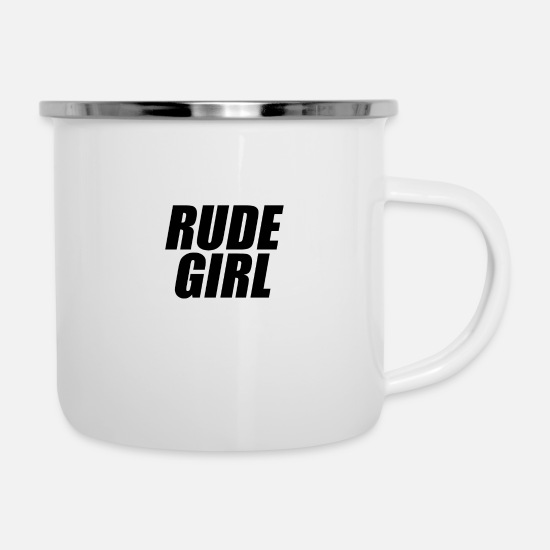 Typography Mugs & Drinkware - Rude girl black - Enamel Mug white