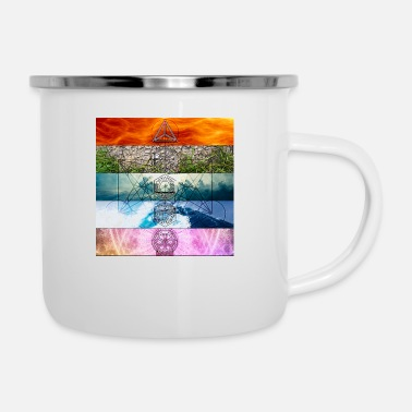 Platonic Solids Platonic Solids Metatron's Cube Stripes - Enamel Mug