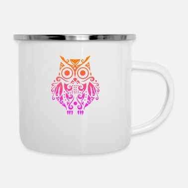 Night Owl Owl Maori Style Polynesian Tribal Tattoo Gift - Enamel Mug