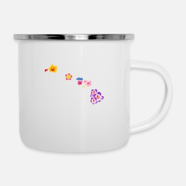 New Age Hawaii map with flowers Funny gift idea - Enamel Mug