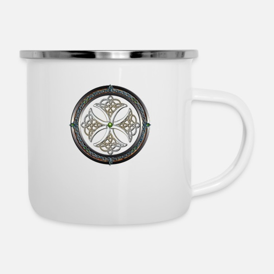 Celtic Mugs et récipients - Fabulous Nacre Celtic Cross.png - Mug émaillé blanc