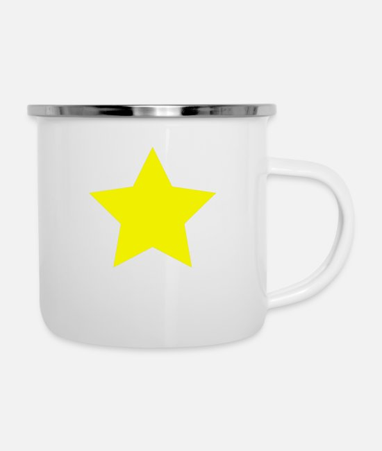 Space Mugs & Drinkware - yellow star - Enamel Mug white