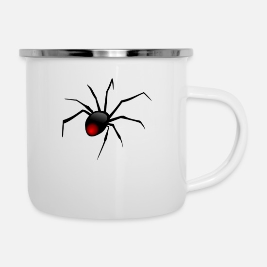 Toxic Mugs & Drinkware - Black spider - Enamel Mug white