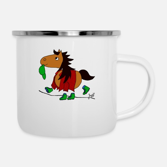 Horse Mugs & Drinkware - walking Pony - Enamel Mug white