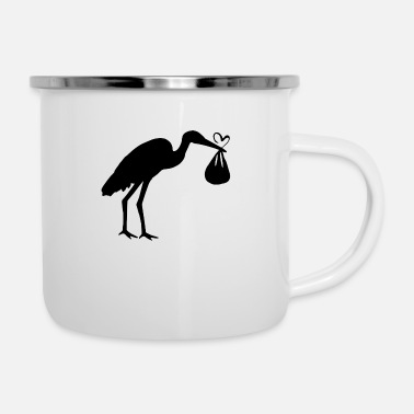 Toddler Stork with toddler and heart - Enamel Mug