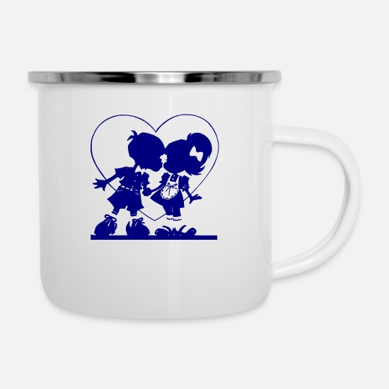 Love Mugs & Drinkware - two children in the heart - Enamel Mug white