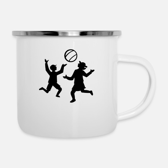 Volleyball Mugs & Drinkware - volleyball sports player player game waterball16 - Enamel Mug white