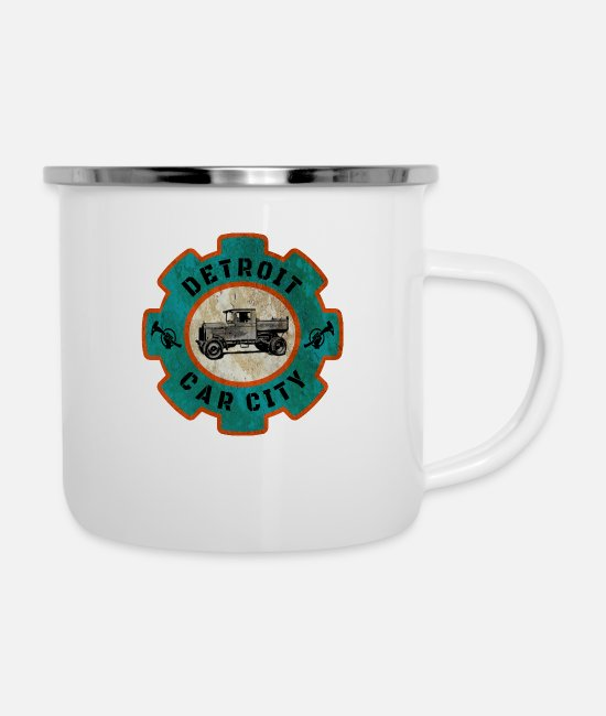 Nostalgic Mugs & Drinkware - Detroit car city / gift / gift idea - Enamel Mug white