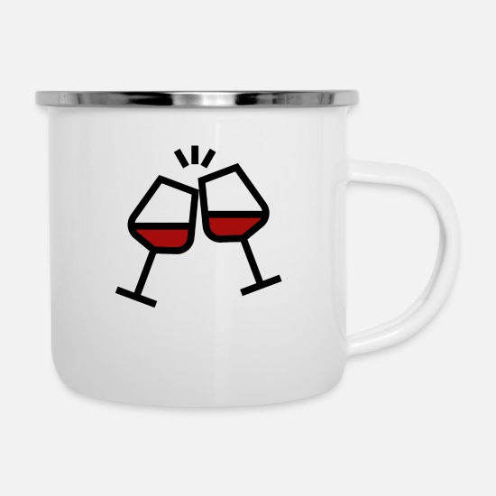 Alcohol Mugs & Drinkware - Cheers with wine glasses - Enamel Mug white