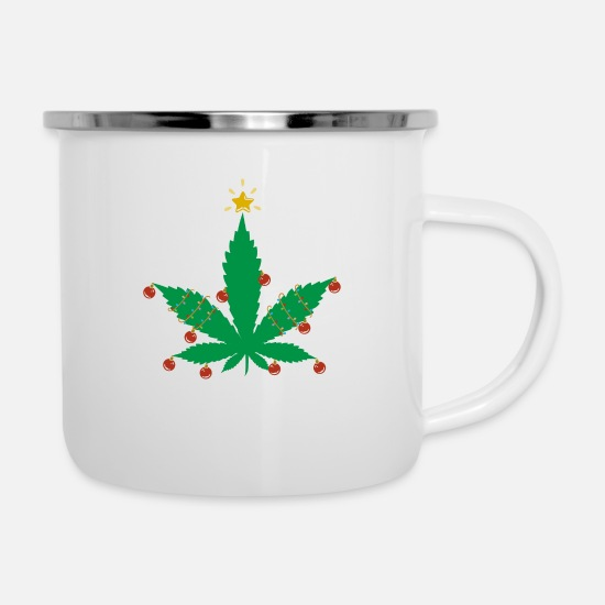 Rasta Mugs & Drinkware - Cannabis christmas tree hemp leaf - Enamel Mug white