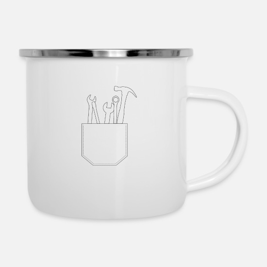 Gift Idea Mugs & Drinkware - Chest pocket tool gift idea - Enamel Mug white