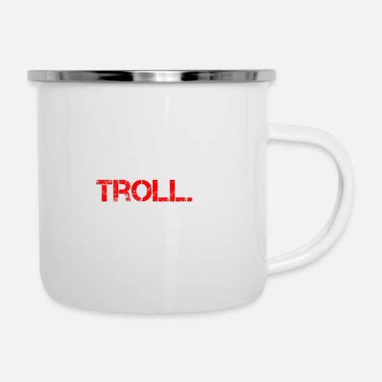 Birthday Mugs & Drinkware - Troll Prank saying funny class clown - Enamel Mug white
