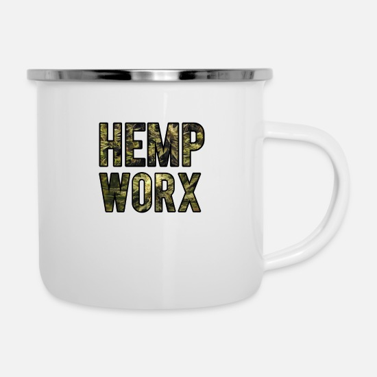 Birthday Mugs & Drinkware - Hemp oil Worx farmer Eden gift - Enamel Mug white