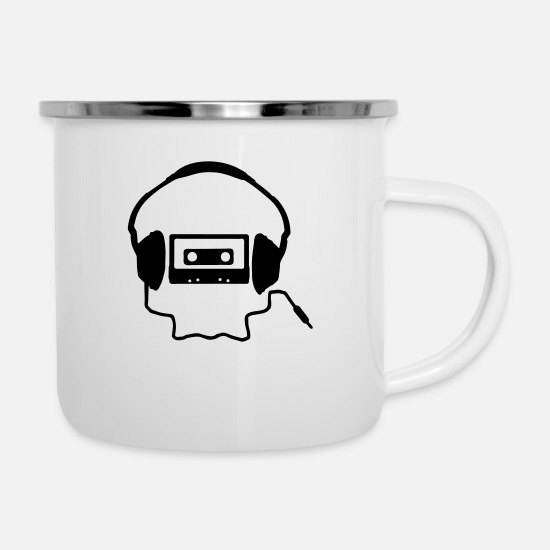 Headphones Mugs & Drinkware - Tape Headphones and a Skull - Enamel Mug white