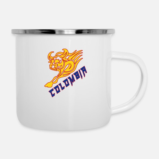 South America Mugs & Drinkware - Colombia bull with national colors / gift - Enamel Mug white