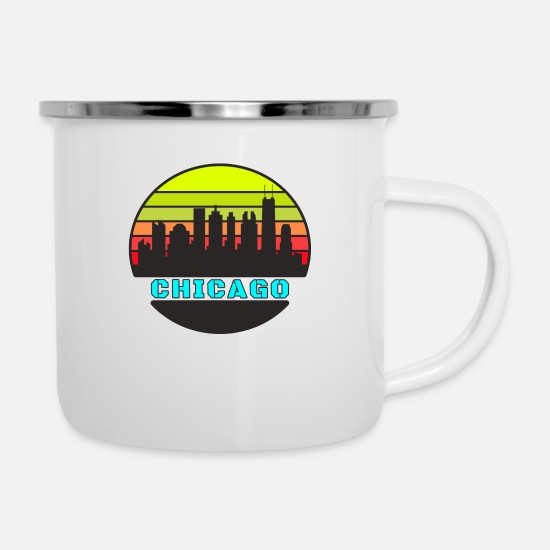 Gift Idea Mugs & Drinkware - Chicago skyline design / gift city cityscape - Enamel Mug white