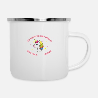 Show Jumping Unicorn with stars colorful - Enamel Mug