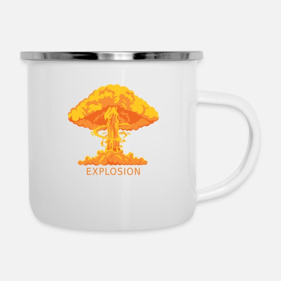 New Mugs & Drinkware - explosion - Enamel Mug white