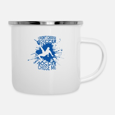 Kicker Cool soccer player blue background with saying - Enamel Mug